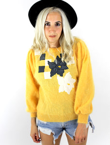 Vintage 80s Yellow Flower Design Mohair Sweater