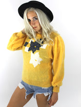 Load image into Gallery viewer, Vintage 80s Yellow Flower Design Mohair Sweater