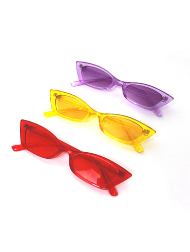 Colorful Square Skinny Cat Eye Sunglasses