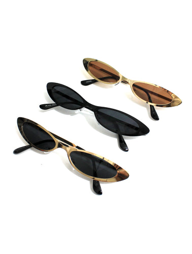 Trinity Metal Super Skinny Cat Eye Sunglasses