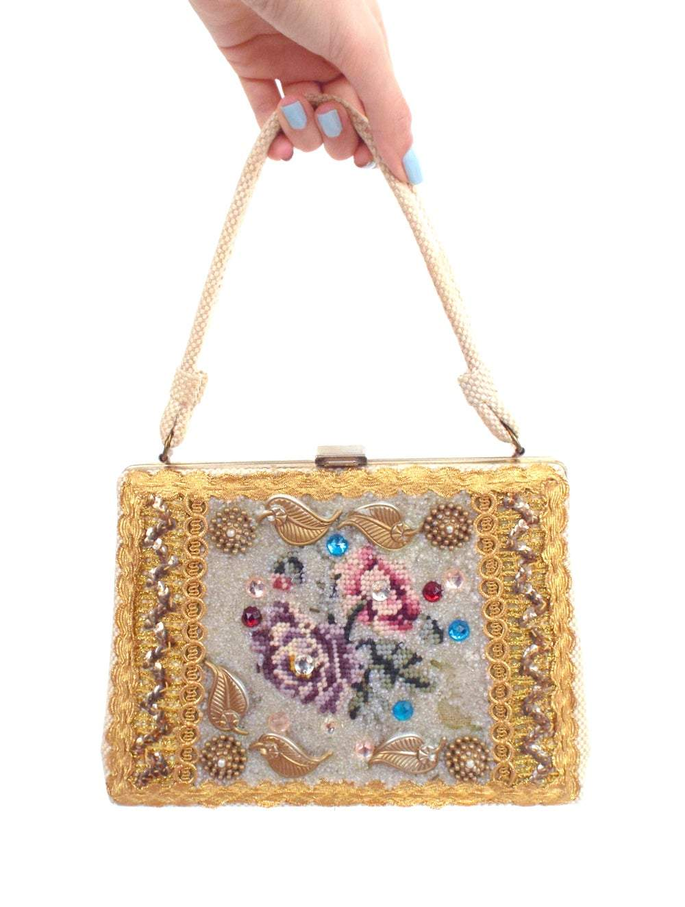 Pure Decadence Vintage Beaded and Bedazzled Needlepoint Flower Purse