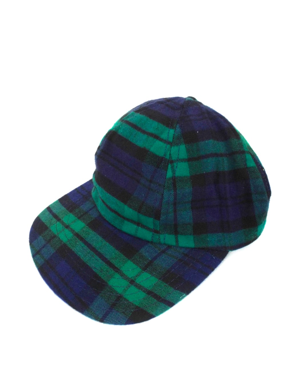 Vintage 90s Blue and Green Plaid Print Snapback