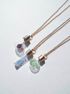 Vintage 70s Birthstone Gemstone Bottle Necklace - Many colors available!