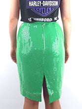 Load image into Gallery viewer, Vintage High Waisted Lime Green Sequined Pencil Skirt -- Size 27