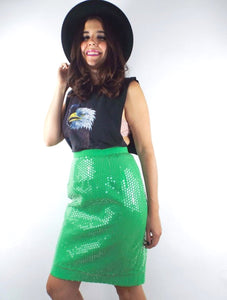 Vintage High Waisted Lime Green Sequined Pencil Skirt -- Size 27
