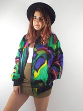 Load image into Gallery viewer, Vintage 80s Silky Watercolor Print Bomber Jacket