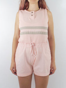 Vintage 90s Baby Pink and Grey Sleeveless Romper
