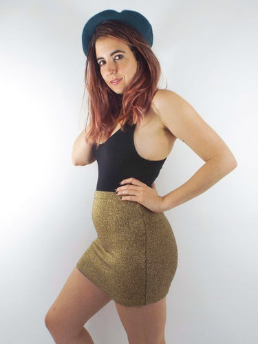 Dancing Queen Vintage High Waisted Metallic Gold Knit Mini-Skirt Size Small