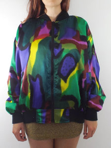 Vintage 80s Silky Watercolor Print Bomber Jacket