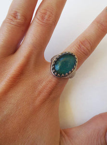 Vintage 70s Silver Plated Oval-Shaped Mood Ring
