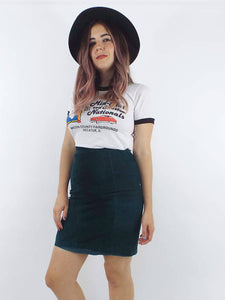 Vintage 80s Green Suede High-Waist Pencil Skirt -- Size 26