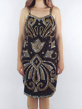 Load image into Gallery viewer, Vintage 80s Silk Gold and Silver Sequined and Beaded Dress