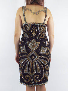 Vintage 80s Silk Gold and Silver Sequined and Beaded Dress