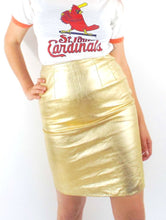 Load image into Gallery viewer, Vintage High Waisted Metallic Gold Leather Pencil Skirt -- Size 26