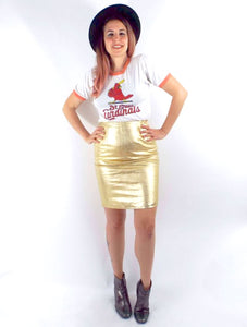 Vintage High Waisted Metallic Gold Leather Pencil Skirt -- Size 26