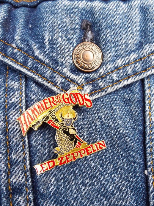 Vintage 80s Deadstock Led Zeppelin Hammer Of The Gods Enamel Pin