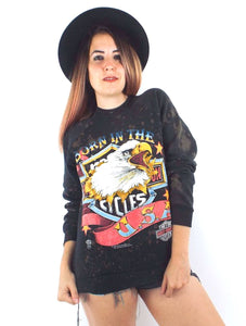 "Vintage 80s Bleach Splattered Harley-Davidson ""Born in the USA"" Eagle Sweatshirt"