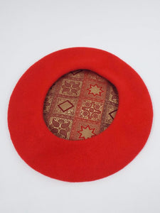 vintage red wool beret with lining