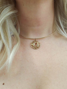 Vintage 70s Faux Gold Zodiac Sign Choker - Many signs available!