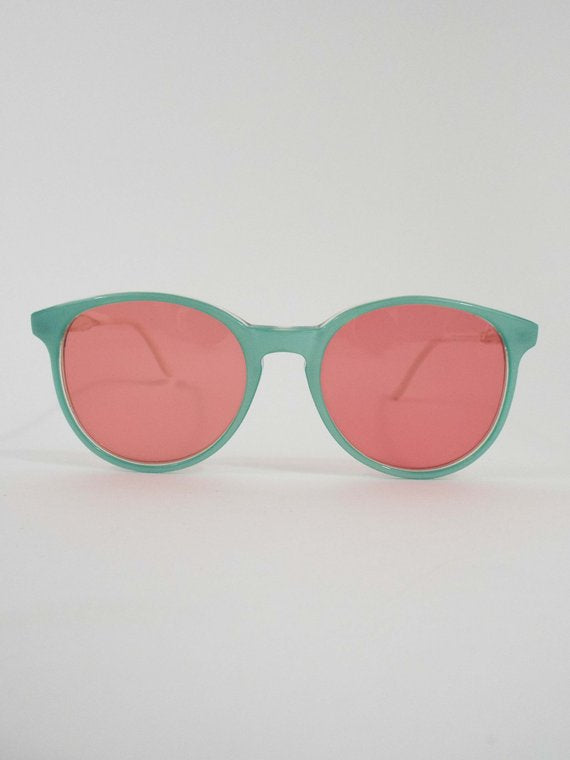 Vintage Baby Blue and Pink Round Sunglasses
