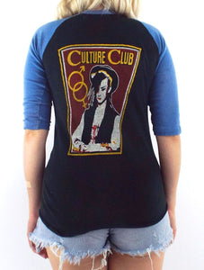 Vintage 80s Distressed Black and Blue Culture Club Kissing to be Clever Baseball Tee