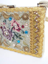 Load image into Gallery viewer, Pure Decadence Vintage Beaded and Bedazzled Needlepoint Flower Purse