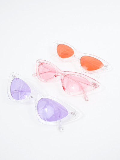 Space Babe Clear Skinny Cat Eye Sunglasses