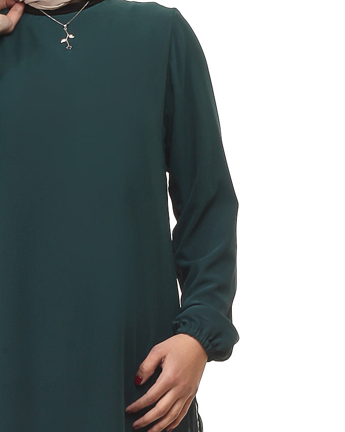 Emerald Chiffon Blouse with cotton lining