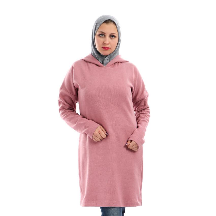 Hoodie Sweater Dress - Pink