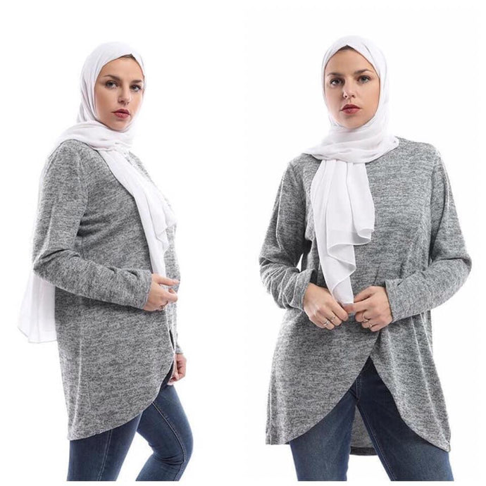 Croise Wool Blouse - Dark grey