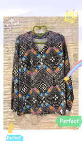 Patterned chiffon crepe blouse
