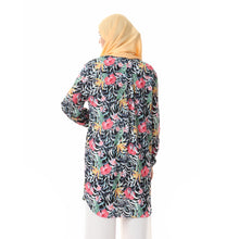 Load image into Gallery viewer, Long Floral pleated chiffon crepe blouse