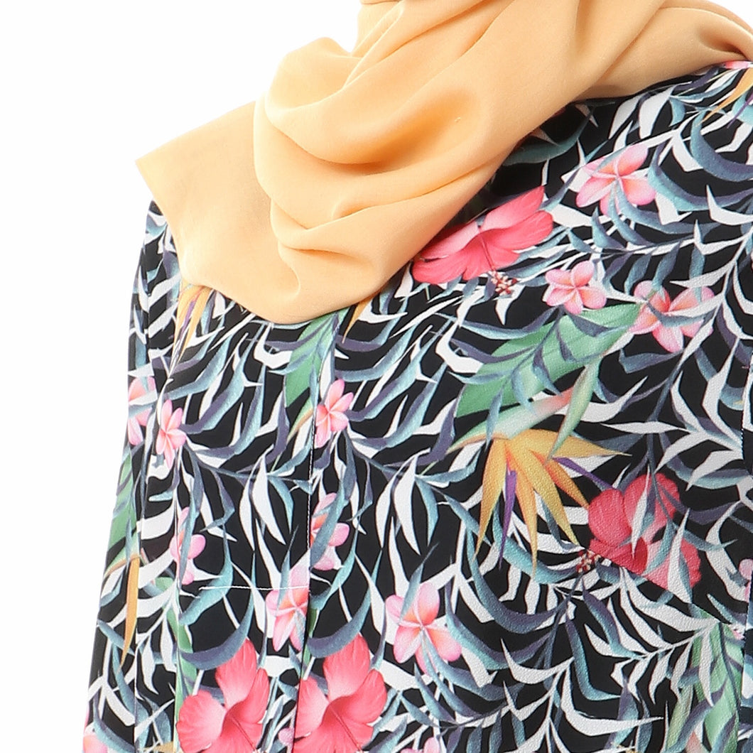 Long Floral pleated chiffon crepe blouse