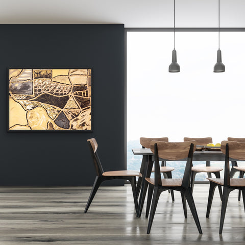 black-and-gold-texas-kitchen-art