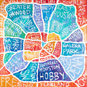 Houston Neighborhoods Map Original Artwork