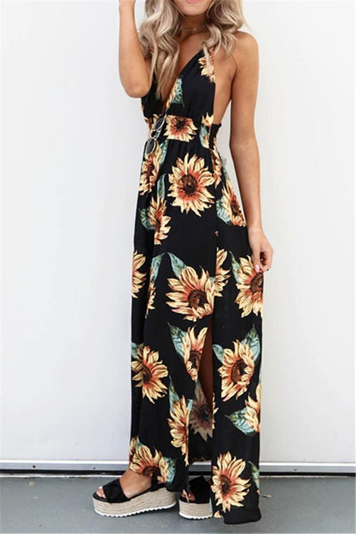 Casual Sunflower Print Maxi Dress