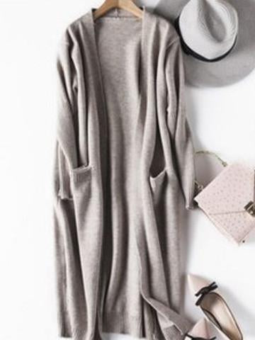 Street Casual Long Sleeve Open Collar Cardigan