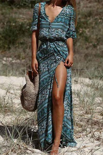 Bohemian V Neck 3/4 Sleeve Floral Printed Button Long Maxi Dress