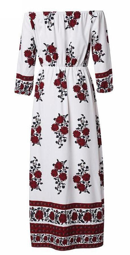 Bateau Off Shoulder Floral Print Dress