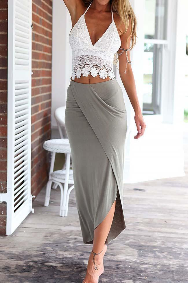 Lace Camisole And Wrap Skirt Set