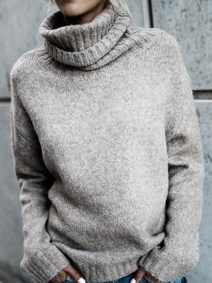High Neck Casual Knit Sweater