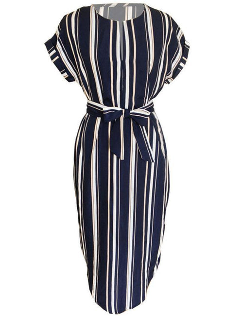 Striped V Neck short Sleeve Button Midi Dress