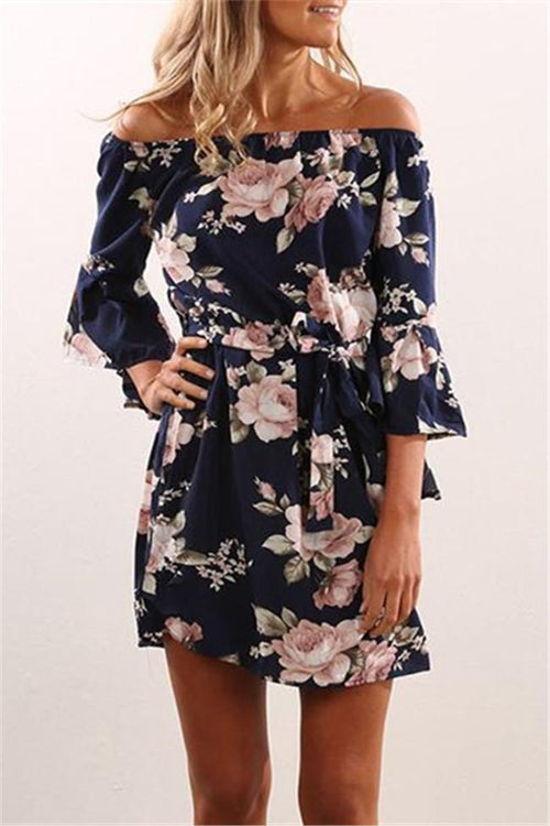 Cute Floral Print Off Shoulder Ruffle Sleeve Boho Mini Dress