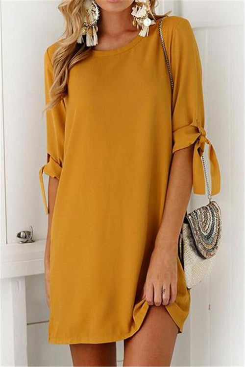 Street Fashion Solid Tie O-Neck Mini Dress
