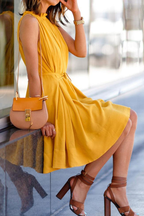 Casual Yellow Around Belted Sleeveless Dress