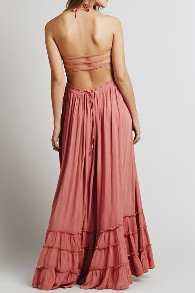 Sexy Pink Halter Backless Maxi Dress