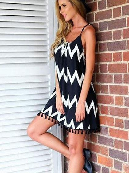 Stylish Casual Tassels Monochrome Dress