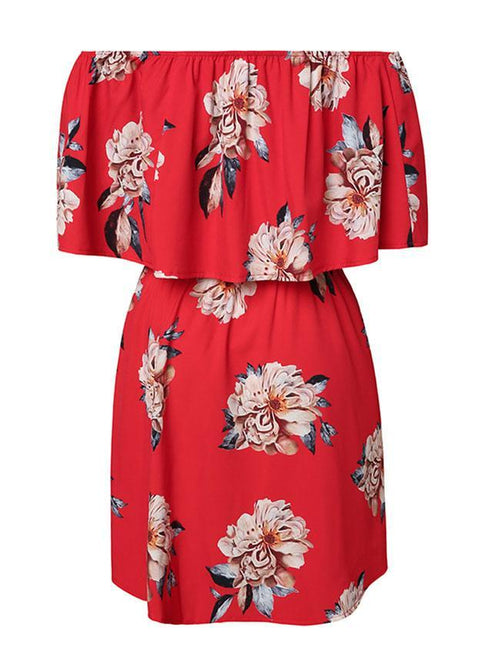 Casual Off Shoulder Tunic Sleeve Loose Print Midi Dress