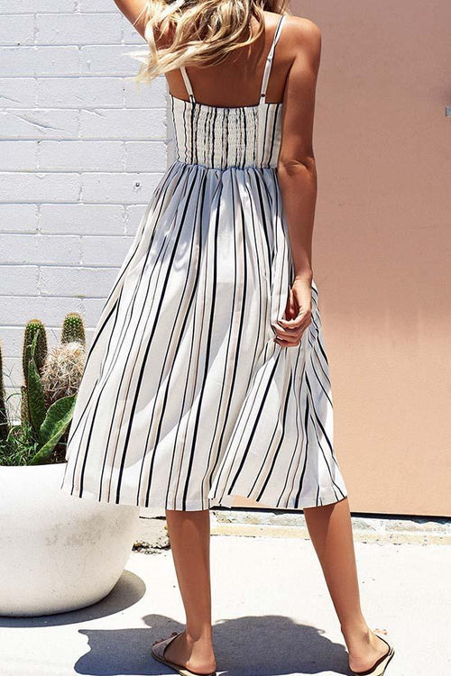 Casual Black White Braced Midi Dress