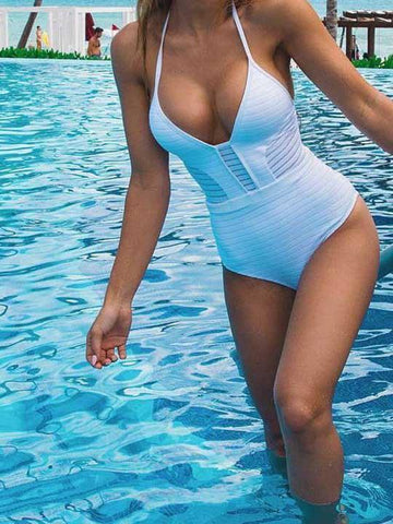 Strappy One-piece Cut out Padded Bikini Swimwear